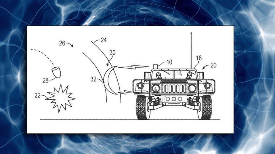 Montasje. Bilde fra Boeings patent med navnet «Method and system for shockwave attenuation via electromagnetic arc.»