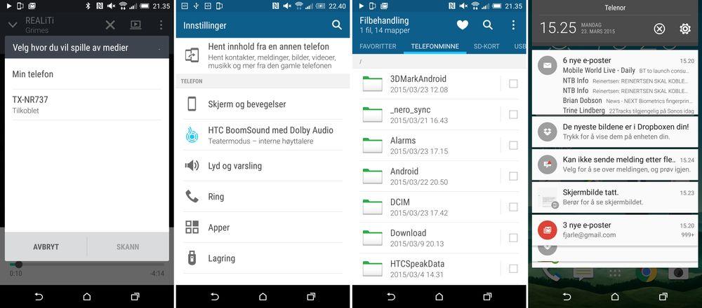 HTC One M9 har hendige multimediafunksjoner, og svært god lyd i de innebygde høyttalerne.