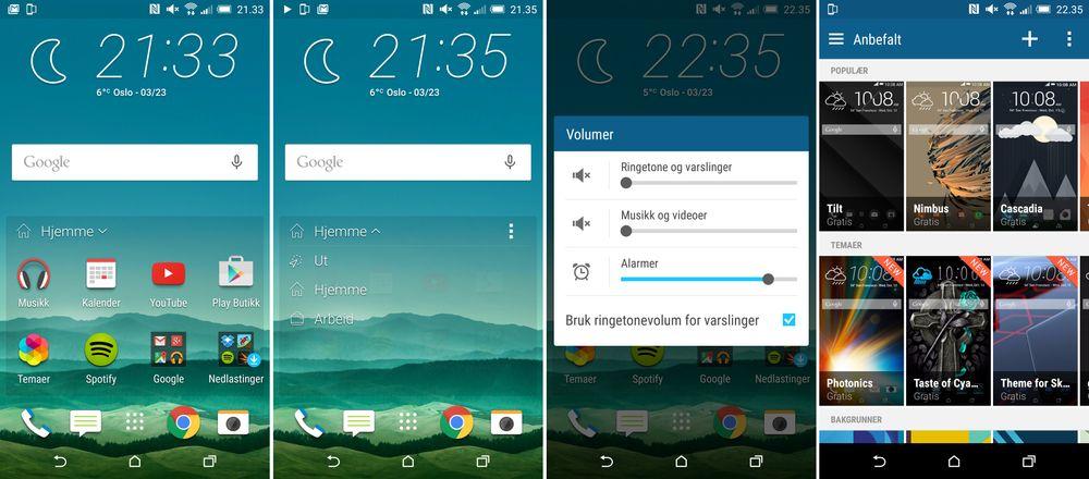 De nye hjemmeskjermene kan foreslå ulike apper avhengig av hvor du er. Legg dessuten merke til at HTC One M9 har den gode gamle stillemodusen som ren Android ikke lenger støtter.