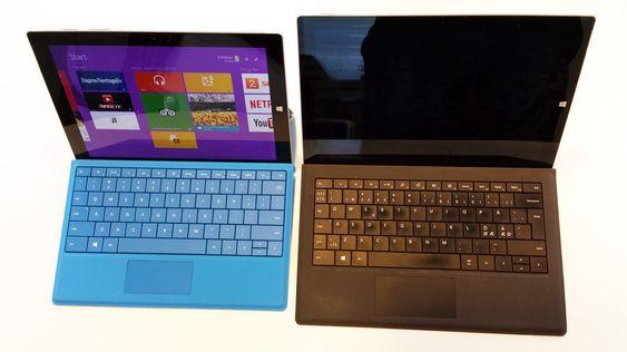 Microsoft Surface 3 Pro (til høyre) har fått en lillebror. Den er atskillig rimeligere, men kjører likevel full Windows 8.1, og har samme skjermpenn som Pro-modellen.