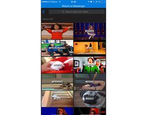 Du kan velge imellom tusenvis av animerte bilder i GIF-appen.
