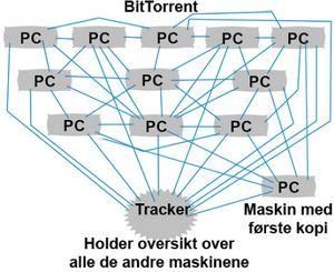 I et BitTorrent-nettverk kan i prinsippet alle datamaskiner laste ned fra alle andre datamaskiner.