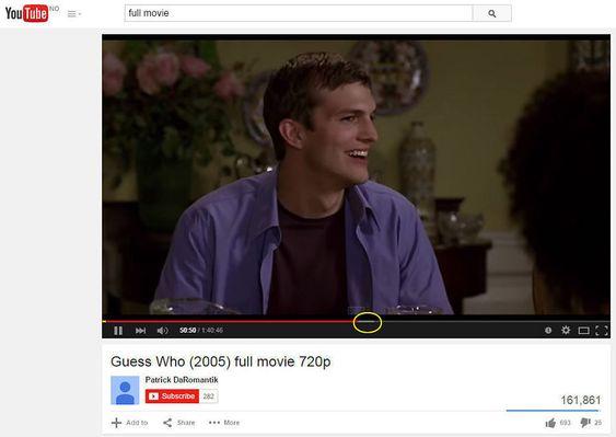 """YouTube er verdens mest kjente strømmetjeneste, og full av det som tilsynelatende er ulovlig opplastede hele filmer. Det som er markert med gul ring er """"buffret"""" innhold, som er lastet ned din datamaskin, men som du fortsatt ikke har sett."""