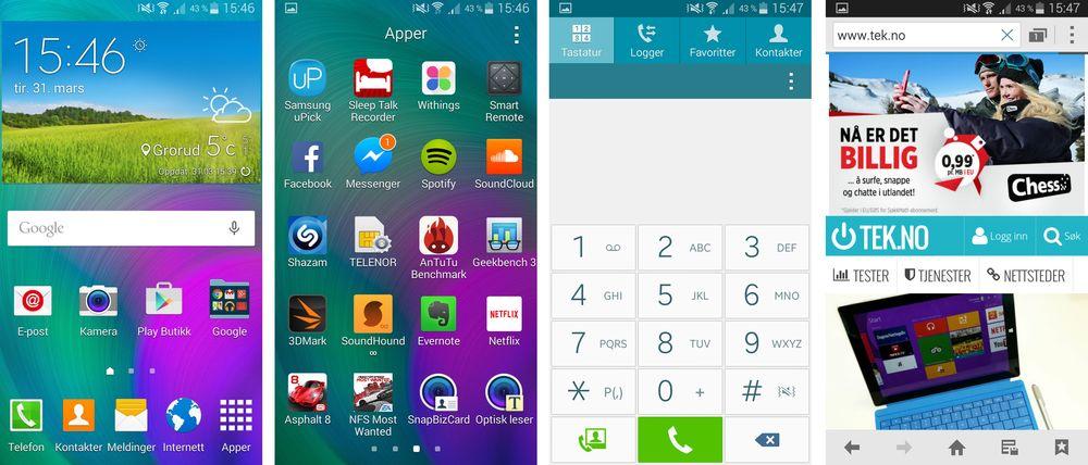 Samsung Galaxy A5 kjører fortsatt Android 4.4 KitKat, og dermed er menyene velkjente for deg som har brukt en Samsung-telefon tidligere.