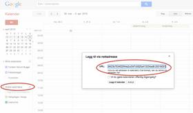 Her skriver du inn Share URL-en i Google-kalenderen.