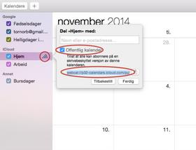 Fra denne lille boksen kan du hente ut den offentlige URL-en til iCloud-kalenderen din.
