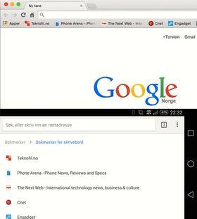 Er du logget inn med samme bruker på både Mac-en og Android-en din vil bokmerkene dine synkroniseres automatisk.