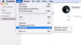 Her finner du vCard-et i Kontakter-appen på Mac.