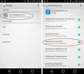 Huk av for kontakter i Android-innstillingene, så får du Google-kontaktene dine på telefonen.