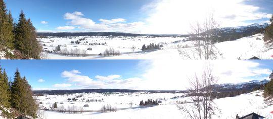 Å ta panorama med polariseringslinsen var en positiv overraskelse. Telefonen luket effektivt ut de svarte kantene, samtidig som bildet ble mindre utbrent av sola.(Øverst: VANLIG Nederst: POLARISERT).