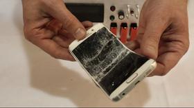 Slik så Galaxy S6 Edge ut etter en runde på pinebenken.
