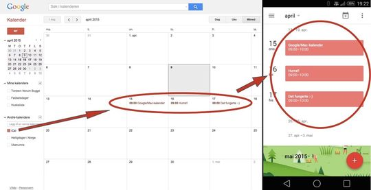 Slik ser det ut når du er ferdig. Mobilversjonen til høyre, web-versjonen til venstre.