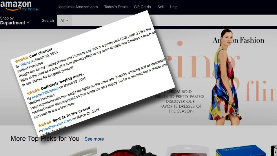 Falske anmeldelser på Amazon.
