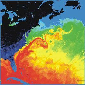 Dette kartet viser hvor viktig Golfstrømmen er for å frakte varme nordover.