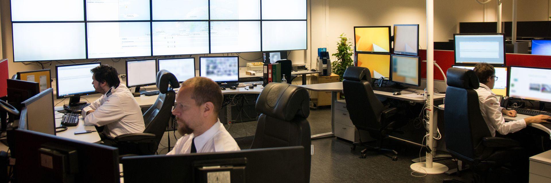 Alarmsentralen til Safe4 i Oslo, der selskapet overvåker et vell av alarmsytemer.