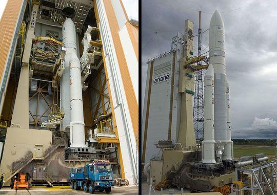 Ariane 5-raketten er omlag 60 meter høy.