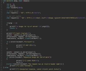 Denne kodesnutten viser hvordan en ikke oppdatert IIS-server kan senkes av feilen. Foreløpig er det ikke kjent hvordan man også kan overta kontrollen over serveren.