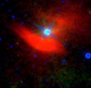 Infrarødt bilde av en nebula nær stjernen 48 Librae, oppdaget ved hjelp av WISE.