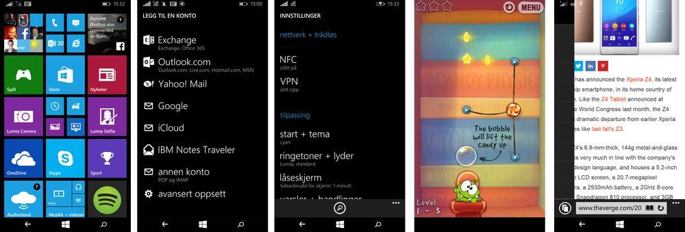 Noen skjermdumper fra Lumia 640. Helt til høyre er nettstedet The Verge som har slått krøll på seg i nettleseren. Det var imidlertid nesten kun her vi opplevde problemer med nettleseren.