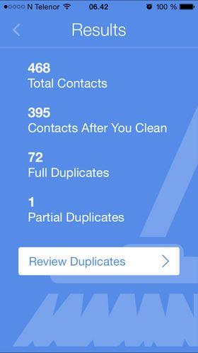 Cleanup Duplicate Contacs fant 72 duplikater i kontaktlisten.