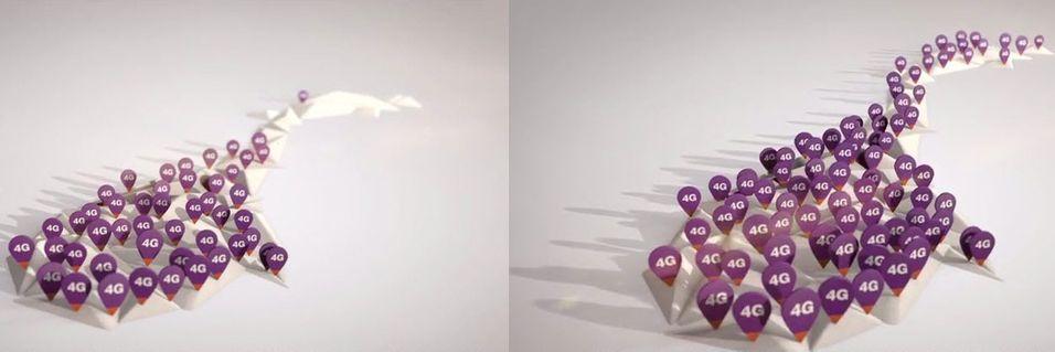 """Slik ser Netcoms dekningskart for 4G ut i """"Myte""""-reklamefilmen. Kartet til venstre vises i et par sekunder før hele Norge er dekket av 4G. Det er villedende, mener både artikkelforfatter og Forbrukerombudet."""