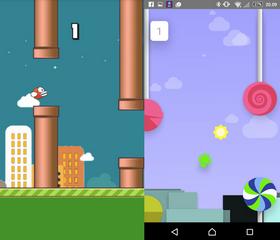 Flappy Bird til venstre, Android-spillet til høyre. Det er nøyaktig samme konsept.