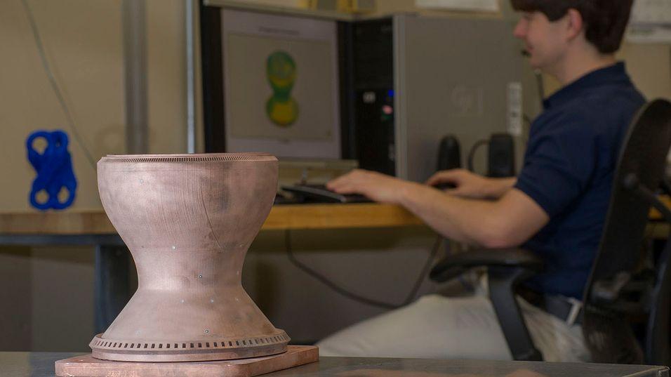 Slik ser den 3D-skrevne kobberdelen ut.