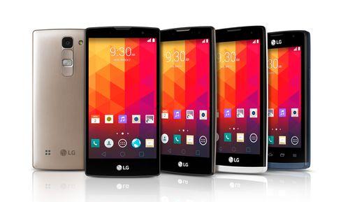LG Leon er mobil nummer to fra høyre.
