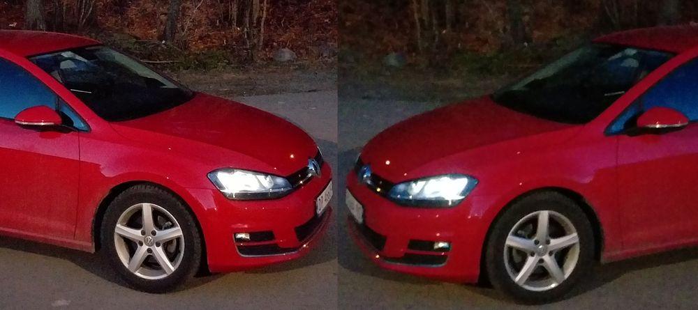 Store forskjeller: LG G Flex 2 til venstre, og HTC One M9 til høyre. Sistnevnte måtte vi gi svært mange forsøk da vi tok håndholdte kveldsbilder. Bedre enn dette ble det ikke. NB: Det høyre bildet er speilvendt og noe redusert i størrelse for sammenlikningsformål.