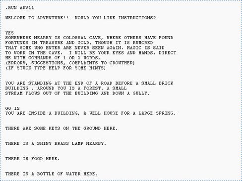 Utskrift av den første «skjermen» av Colossal Cave Adventure spilt på PDP-10.