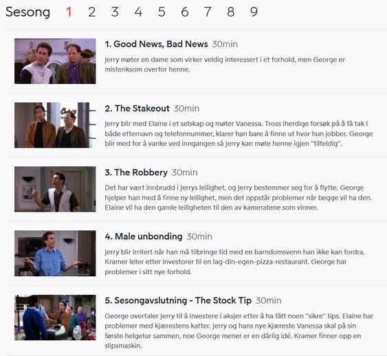 Viaplay viser alle de 180 episodene av Seinfeld.