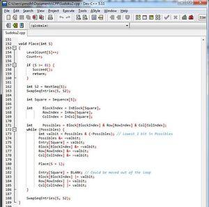 Utsnitt fra kildekoden.