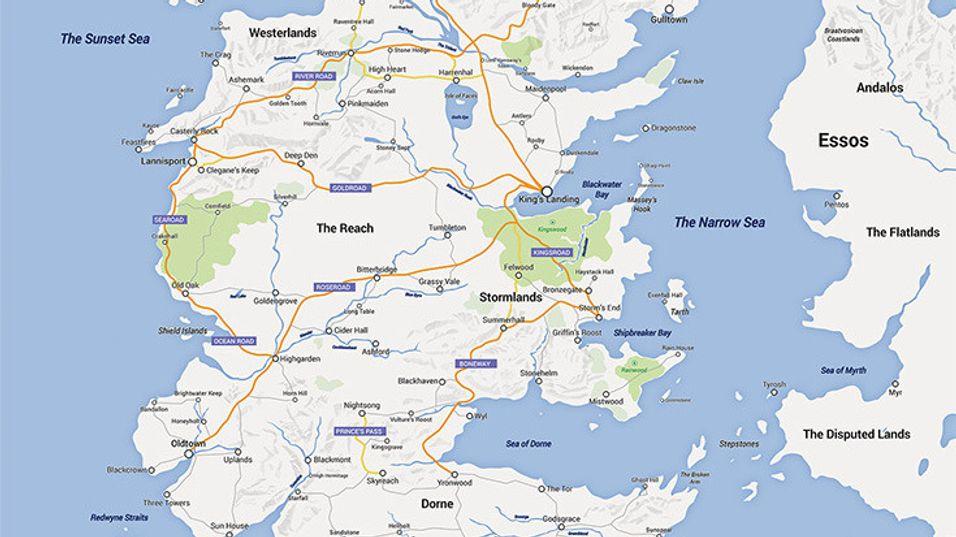 Slik ville Game of Thrones sett ut i Google Maps