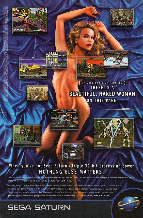 Nok en sexy spillkonsoll-reklame, denne gangen fra Sega. Det er en naken dame på bildet. Sega tror du ikke legger merke til det.