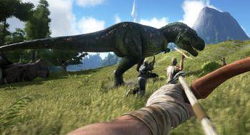 Ri på ein T-rex i dette ambisiøse dinosaurspelet
