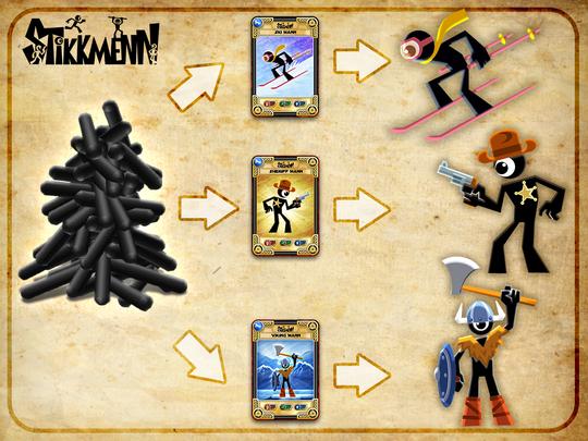 Med hjelp av ulike kort kan man lage ulike figurer.