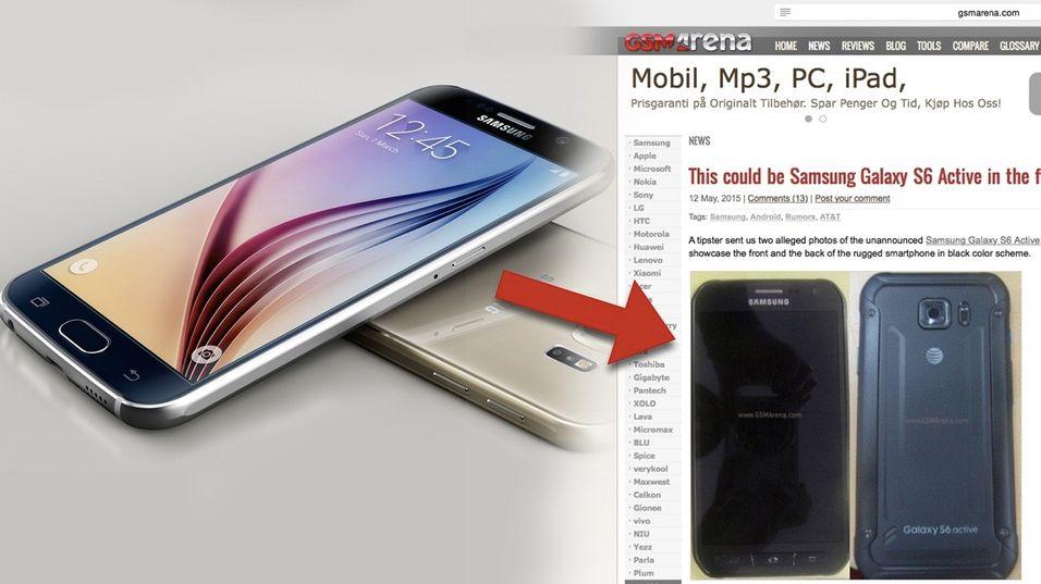 Forvandlingen er ganske stor fra smekre Galaxy S6 til røffe S6 Active hvis det er slik telefonen blir seende ut...