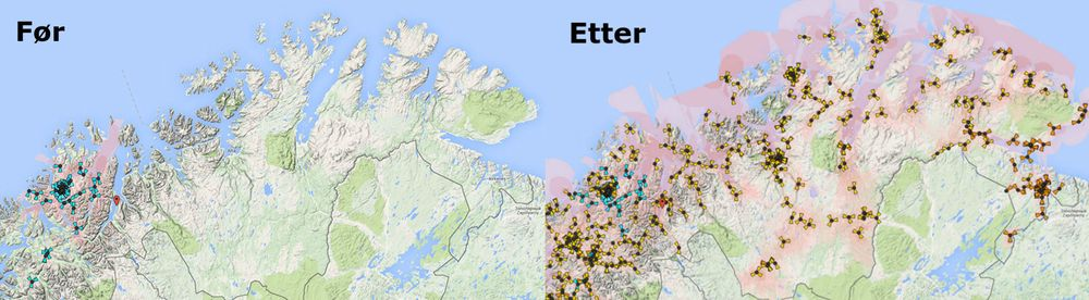 NetComs 4G-dekning i Finnmark før og etter utbyggingen som skal være ferdig i løpet av 2015.