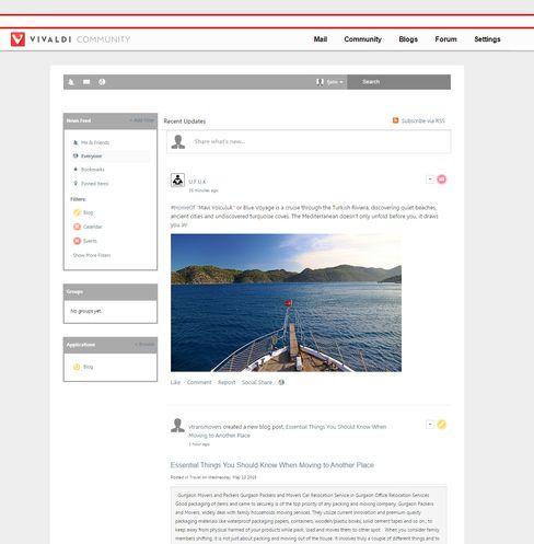 Vivaldi Community er et slags sosialt nettverk for nettleseren. Et liknende nettverk var tidligere tilgjengelig for Opera-brukerne.