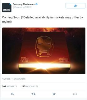 Dette er Twitter-meldingen med bildet av boksen som Samsung publiserte.