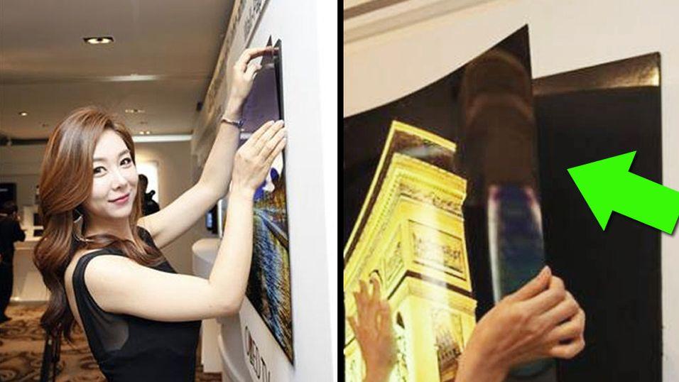 TV-en er så tynn at du klistrer den på veggen som en plakat