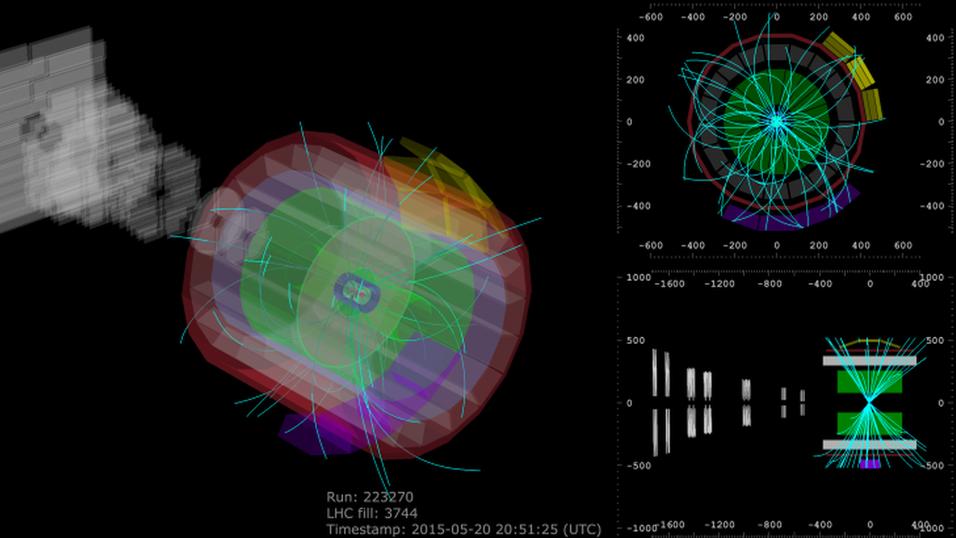Illustrasjonsbilde av partikkelkollisjonene i LHC-maskinen.