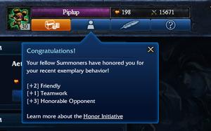 Spillet deler ut ærespoeng til de som oppfører seg allerede. (Skjermdump: League of Legends).