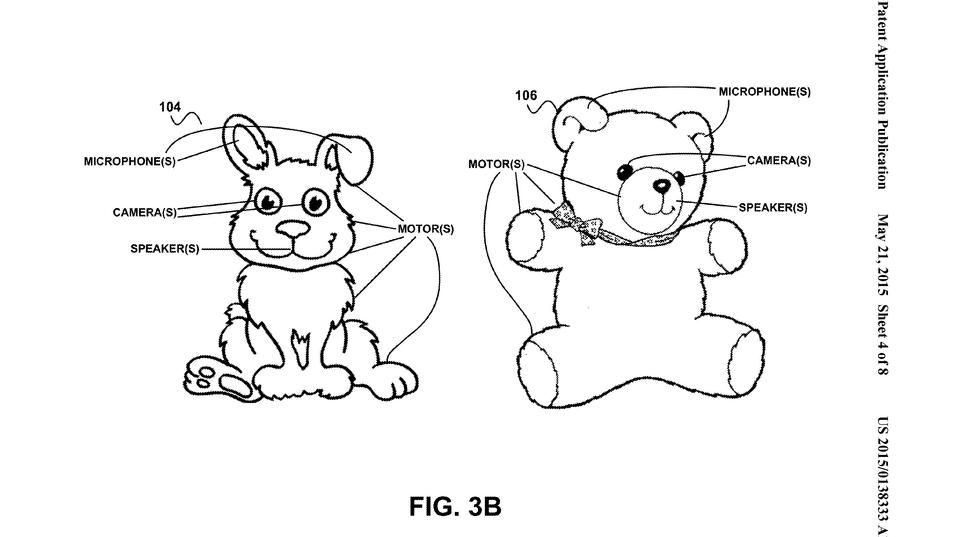 Slik ser Google for seg at de «smarte» bamsene kan se ut. Illustrasjon hentet fra patentdokumentet.