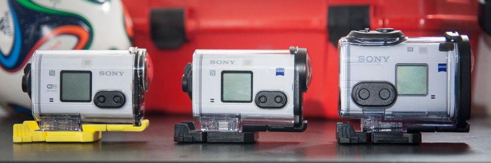 Fra venstre: HDR-AS100V, HDR-AS200V, FDR-X1000X.