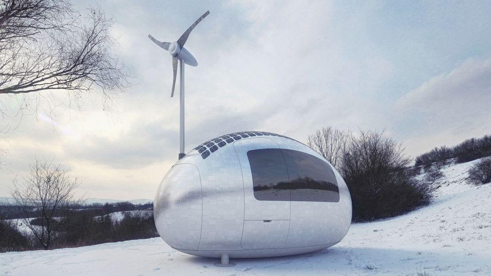 Denne økokapselen generer strøm med sol- og vindenergi, og samler vann fra regn og dugg.