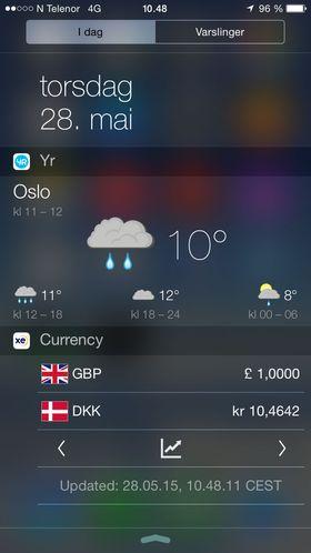 Dagens nedtrekksmeny på iPhone er like trist som værmeldingen til Yr ...