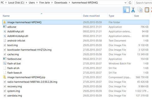 Hvis Flash-all-filen ikke fungerer som den skal, kan du installere alle avbildningene enkeltvis. I så fall bør du pakke ut den siste .zip-filen og legge innholdet sammen med resten.