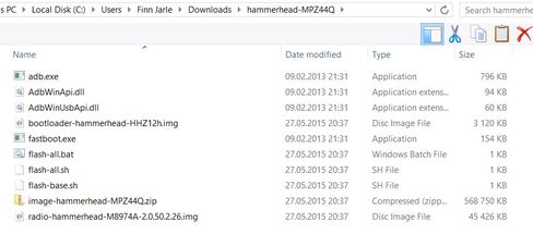 Omtrent slik bør katalogen med installasjonsfilene se ut før du er klar til å gå i gang med selve installasjonen.