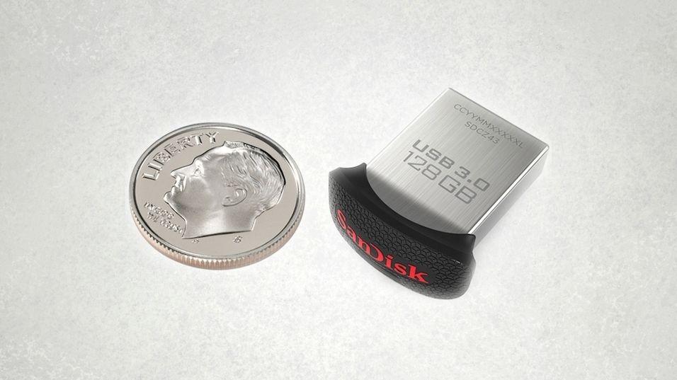 Dette er den nye USB 3.0-minnepinnen på 128 GB fra SanDisk.